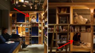 V Japonsku postavili speciální hostely pro knihomoly. Lůžka jsou zabudovaná v regálech s knihami