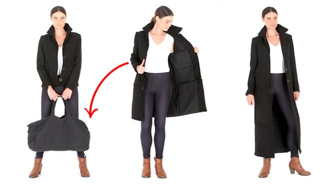 Na trh míří kabát/bunda, která je v podstatě příruční zavazadlo