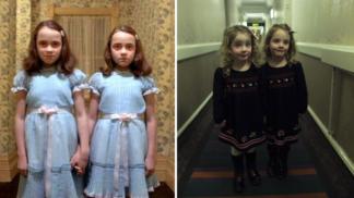 Otec děsí hotelové návštěvníky svými dvojčaty, které naučil přehrát legendární scénu z hororu Osvícení