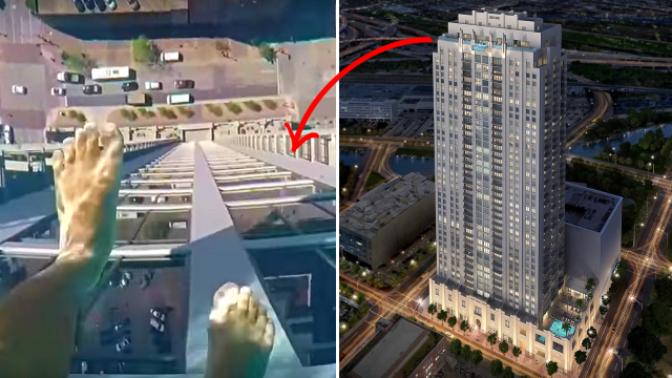Muž natočil, jak se prochází v bazéně se skleněným dnem ve 40. patře. Troufli byste si?