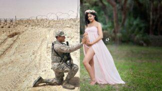 Voják se sešel se svou těhotnou ženou díky Photoshopu – a vznikla tato dojemná fotosérie