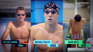 """Držitelé světových rekordů Michael Phelps, Michael Gross a Mark Spitz soupeří v exkluzivním videu Eurosportu """"Závod legend"""""""