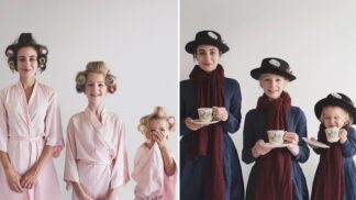 """""""Tři jsou víc než jedna!"""" ukazují humorné snímky Britky a jejích dvou dcer"""