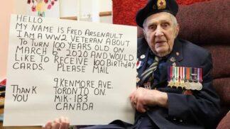 Stoletý válečný veterán má netradiční přání. Rád by dostal sto narozeninových přání z celého světa