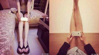 Schovej kolena za iPhone 6 a ukaž, že máš hubené nohy. Číňanky přichází s dalším šíleným trendem