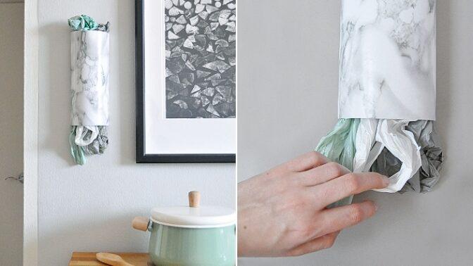 Vyrobte si sami: Nástěnný držák na igelitové tašky
