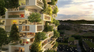 Italský architekt navrhl bytový dům pokrytý jehličnatými stromy, keři a rostlinami